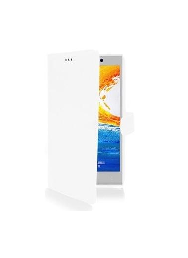 Microsonic Cüzdanlı Deri Kılıf - General Mobile Discovery Elite Beyaz Renkli